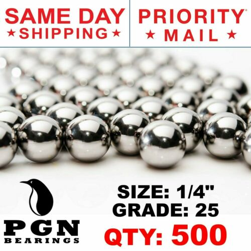 """1//4/"""" 0.25/"""" 500 PCS Inch AISI 440 Stainless Steel Bearing Ball G25 Precision"""