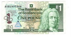 Royal-Bank-of-SCOTLAND-1-Pound-VF-XF-Commemorative-Banknote-1997-P-359-AGB