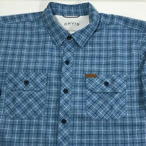 Orvis-Mens-Blue-White-Plaid-Short-Sleeve-Button-Down-Shirt-Polyester-Size-Large