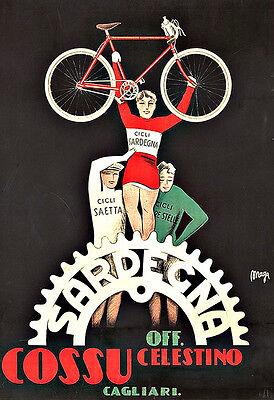 Art Ad Sardegna Cycles Bike Bicycle  Deco Poster Print