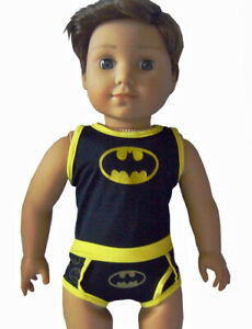 Doll-Clothes-fits-American-Girl-Black-Yellow-Batman-Underwear-Set-Boy-Logan