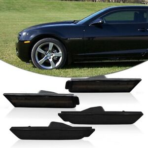 Details about For 10-15 Chevrolet Camaro Front & Rear Smoke Side Marker Lights Bumper Housing
