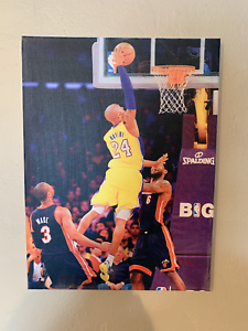 Kobe Bryant Dunking On Lebron James While Dwayne Wade Watch Framed Canvas Poster Ebay