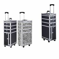 4 In1aluminum Rolling Makeup Train Case Wheel Cosmetic Box Drawer Professional P