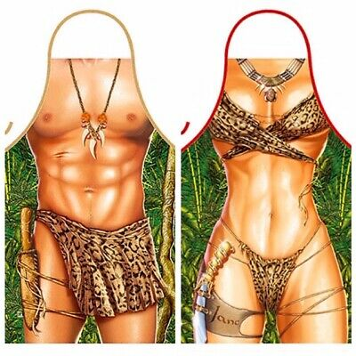 Poker game man woman strip poker funny kitchen aprons gifts Made in Italy 2pc