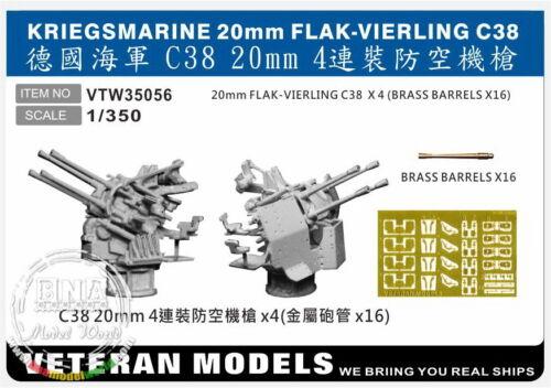 Veteran Models 1//350 Kriegsmarine 20mm Flak-vierling C38 4pcs