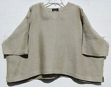 NEW Eskandar BEIGE Light Weight Linen V-NECK Short Sleeve Top O/S $695