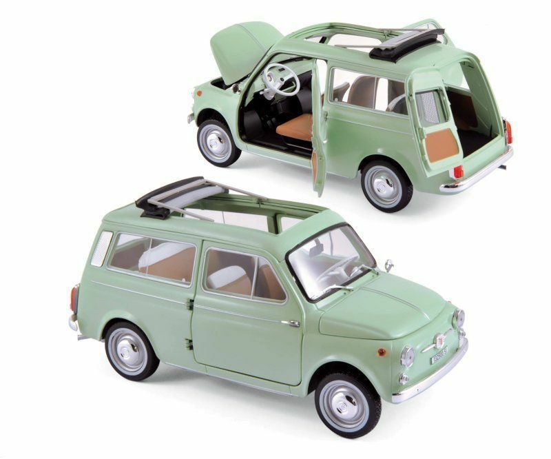NOREV 1 18 1962 FIAT 500 500 500 GIARDINIERA DIE-CAST CAR MODEL 187723 GREEN 67335a