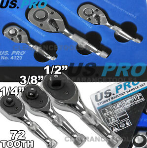"3//8/"" DRIVE STUBBY SOCKET RATCHET by US PRO TOOLS Length 85mm 72 Teeth Ratchet"