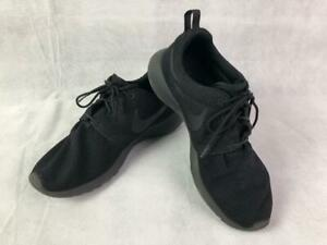 NIKE-511881-026-ROSHE-ONE-MEN-039-S-MESH-LACE-UP-SNEAKERS-SHOES-BLACK-BLACK-10-EUC