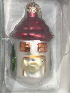 Christmas-Ornament-KURT-S-ADLER-Round-Birdhouse-MEDALLION-COLLECTION-MIB-Glass