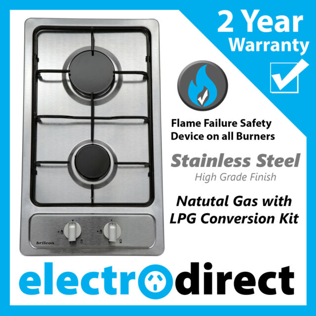 Brilcon 30cm Gas Cooktop Stainless Steel Natural Gas With LPG Conversion Kit