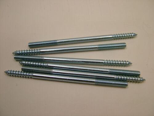 Wood to metal dowels furniture fixing dowel screws M6x120mm pack x 6,zinc plated