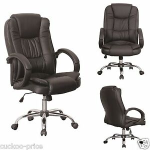 Black-Luxury-Swivel-High-Back-PU-Leather-Executive-PC-Computer-Desk-Office-Chair