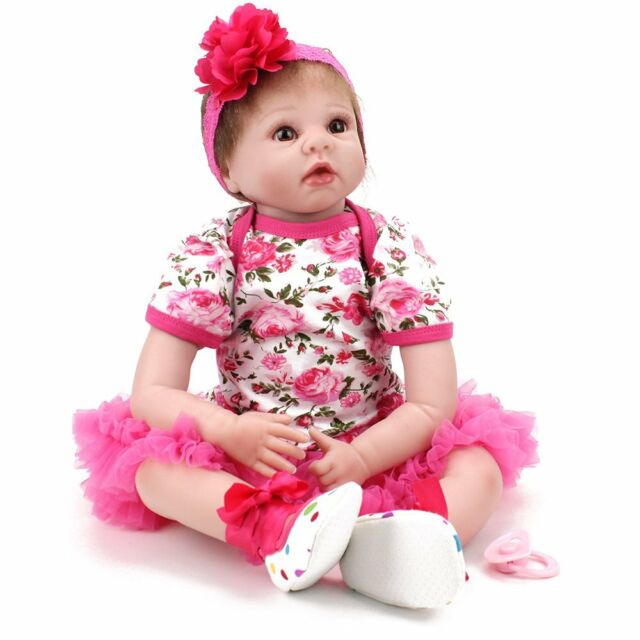 22'' Reborn Baby Dolls Handmade Vinyl Silicone Doll Newborn Girl Toys+Dress Gift