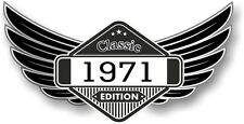 Winged Emblem Year Dated 1971 CLASSIC EDITION Crest Cafe Racer Biker Car Sticker