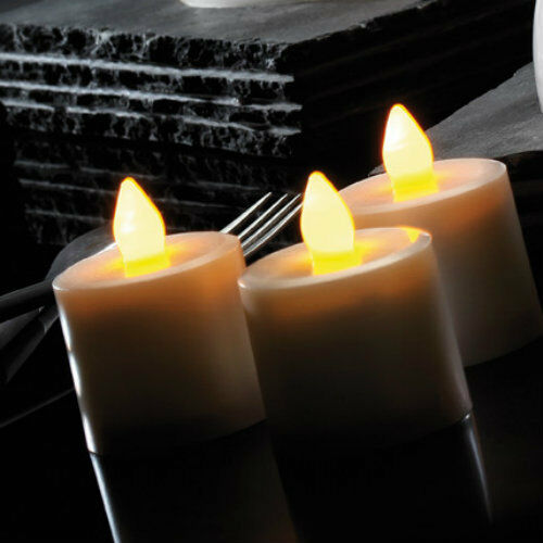 9PC WARM WHITE FLICKERING FLAME LED FLAME LESS  MOOD CANDLES  + BATTERIES REMOTE