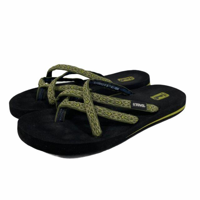 Teva Womens Olowahu Mush Thong Flip Flops Size 8 Green Woven Nylon Sandals