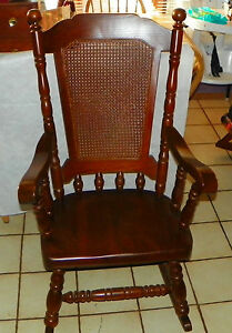 Terrific Details About Solid Oak Cane Back Rocker Rocking Chair By Virginia House R203 Gmtry Best Dining Table And Chair Ideas Images Gmtryco