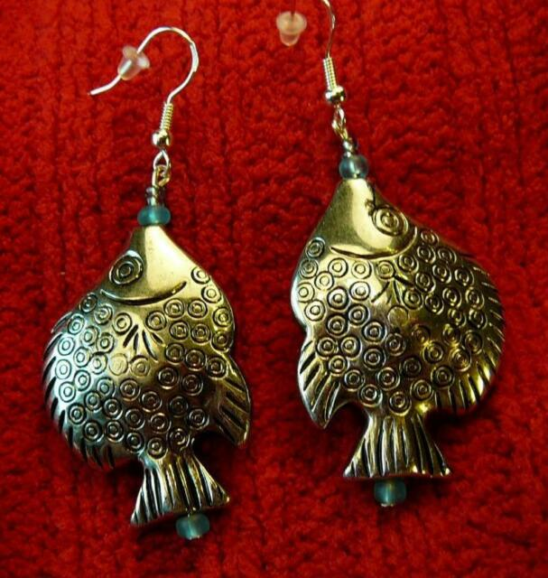 Unique Detailed Fish Silver Earrings - Native American