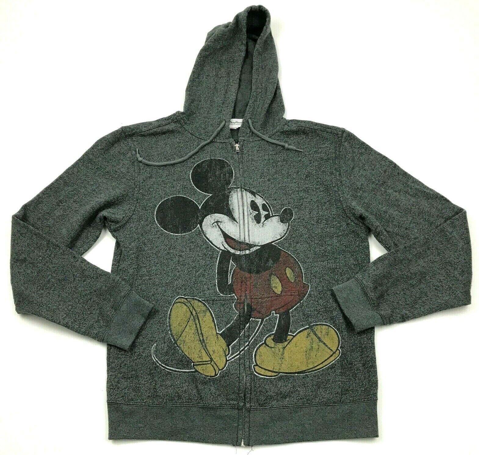 Disney Mickey Hoodie Sweater Size Small S Gray Full Zip Long Sleeve Disneyland