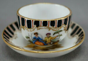 Wolfsohn Dresden Hand Painted Courting Couple Striped & Gold Miniature Cup