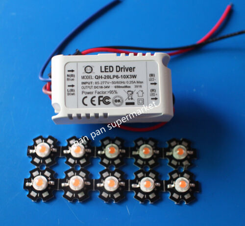 10X 3W Plant Grow Full Spectrum 380-840nm High Power LED 6-10x3w driver
