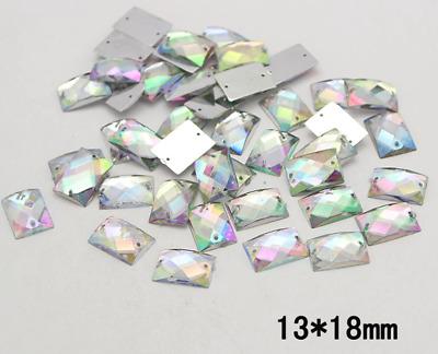 100 x AB Clear Sew on  tear drop Diamante Crystal Gems Rhinestone 8x13mm #9