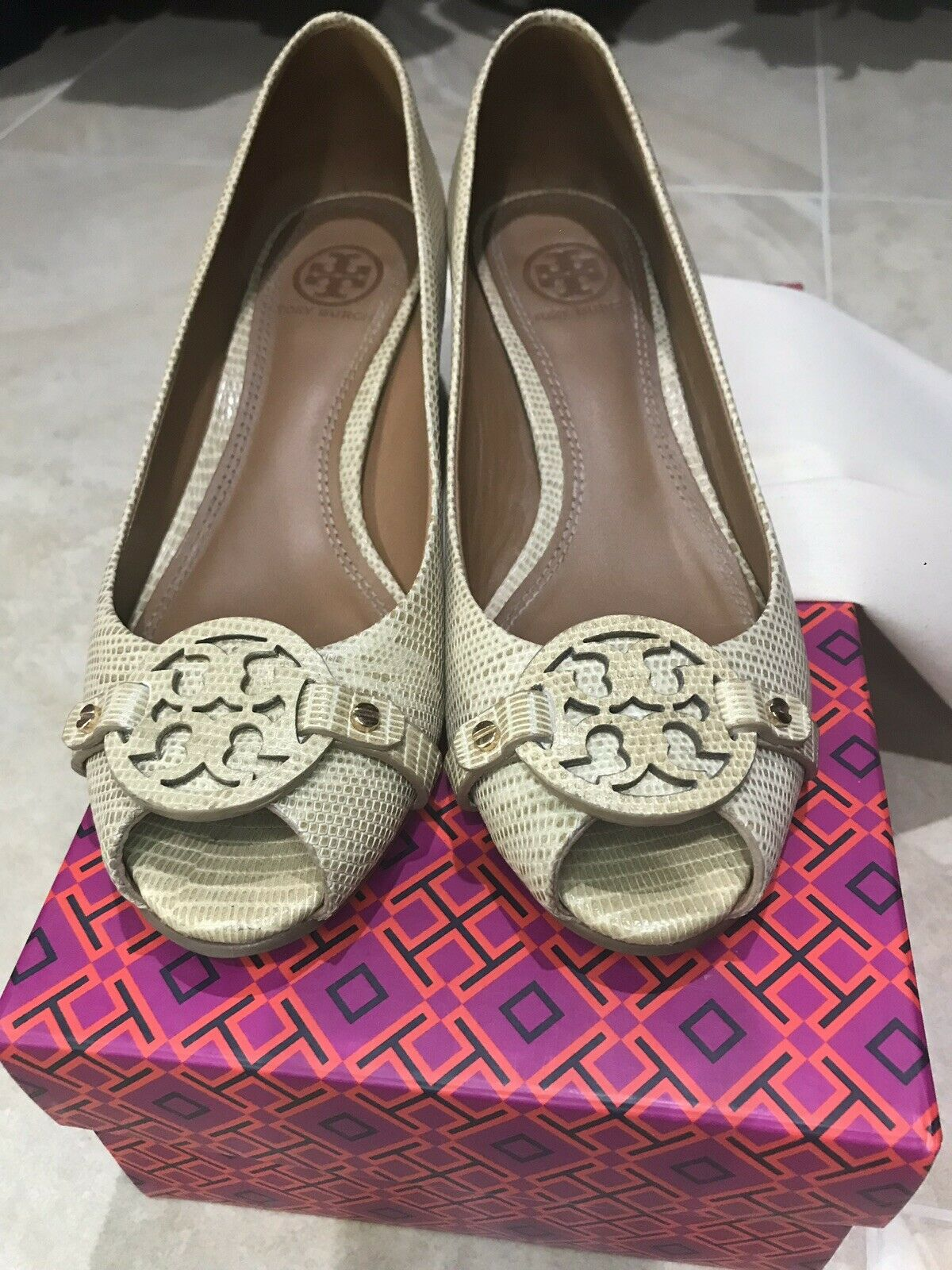 Tory Burch Embossed Snakeskin Print Leather Peep Toe Wedges In Trench Tan
