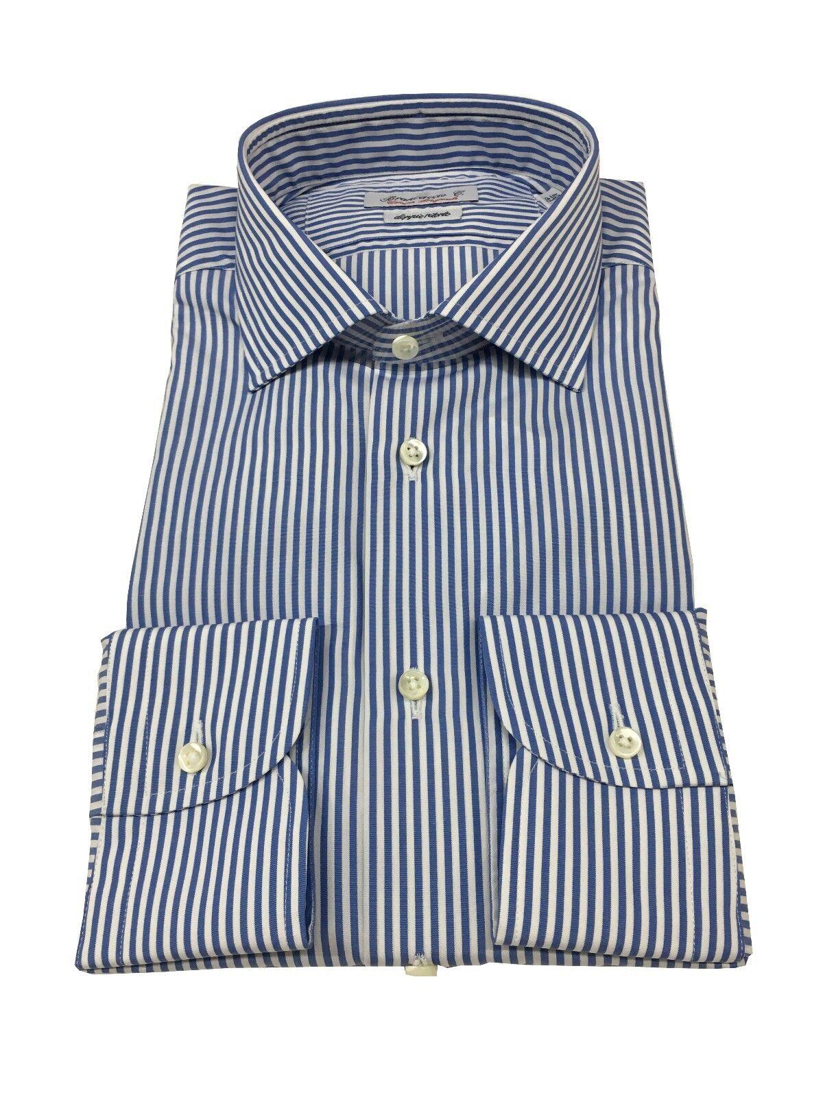BRANCACCIO men's shirts striped white bluee 100%cotton DOUBLE TWISTED slim