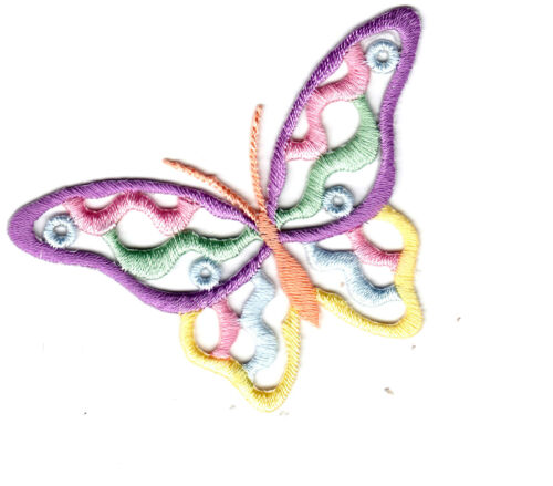 "BUTTERFLY Pastel Colors Large 2 3//4/"" Iron On Embroidered Applique Butterflies"