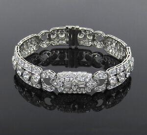 Antique-Art-Deco-19-0ct-Old-Mine-Cut-Diamond-amp-Platinum-Filigree-Bracelet