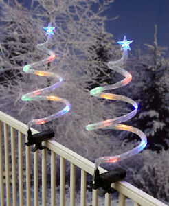 Set of 2 Multi-Colored Spiral Christmas Tree Stakes with Porch Railing Clips