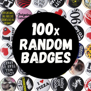 100-x-Random-Badges-Buttons-Pins-Wholesale-Lot-Markets-Stocking-Stuffers-Gifts
