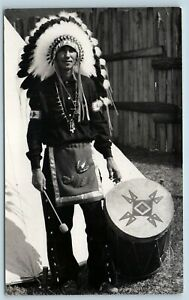 Postcard-NY-Onoville-Allegany-Indian-Reservation-Oi-Hes-Tah-Indian-Drum-RPPC-S10
