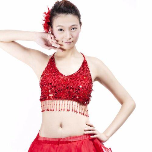 Belly Dance Bikini Paillette 5 flower Top Bra Blouse Costume Sequin Club Bra Top