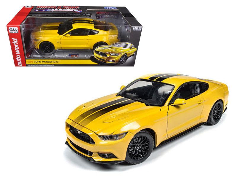 2016 FORD MUSTANG GT 1002 édition limitée jaune 1 18 échelle moulé sous pression par Auto World AW229