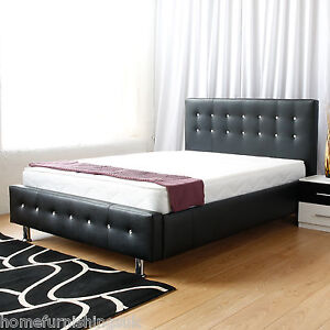 Hf4you Classic Faux Leather Bed Frame Black Brown Cream White