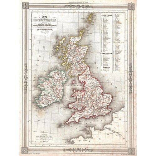 Attractive 1852 Map The British Isles By Vuillemin Vintage 12X16 Framed Print