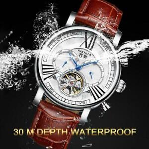 Herren-Schwungrad-Leder-Luxus-Skelett-Automatische-mechanische-Armbanduhr-X7W2