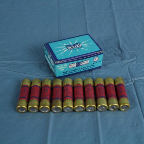 655 NON-RENEWABLE N.E.C CARTRIDGE FUSES Box of 10 NOS EAGLE 30 AMP No USA!