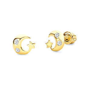 Wellingsale 14K Yellow Gold Polished Open Star Stud Earrings With Screw Back