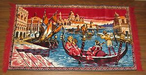 Vintage 70s Venice Scene Tapestry Fringe Carpet Wall Hanging Decor FREE SHIPPING