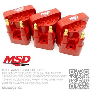 MSD-BLASTER-IGNITION-COIL-SET-V6-ECOTEC-3-8L-HOLDEN-VS-VT-VX-VY-COMMODORE-RED