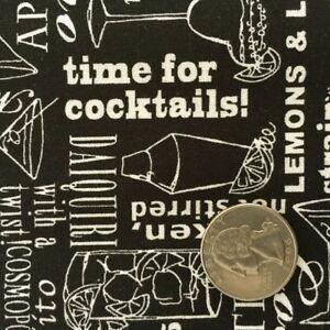 COCKTAIL-TALK-Black-Cream-Alcohol-Drink-Typography-Quilt-Fabric-by-the-Yard