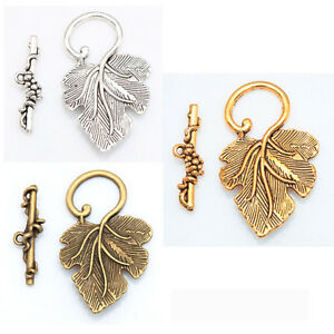 10-Sets-Wholesale-Silver-Gold-Brass-Grape-Leaf-Toggle-Clasps-For-Jewelry-Making