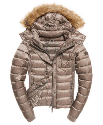 Womens Superdry Luxe Fuji Double Zip Hooded Jacket Coat  rrp £90