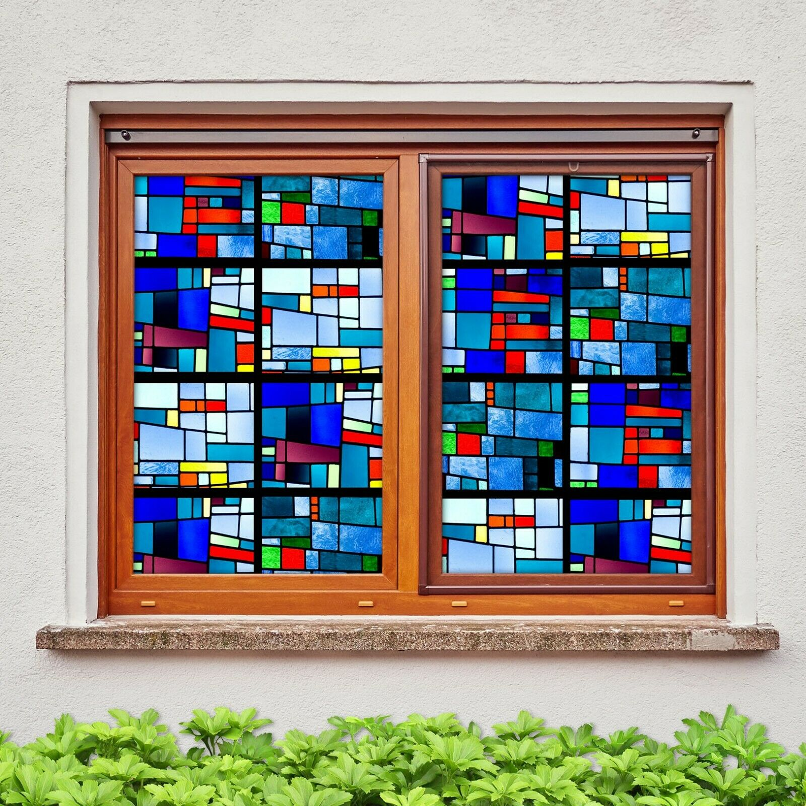 3D Squares Farbeful R011 Window Film Print Sticker Cling Stained Glass UV Sunday
