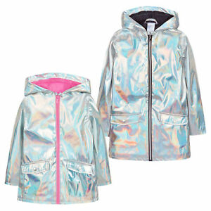 e055d3cff Image is loading Girls-Holographic-Iridescent-Shiny-Silver-Raincoat-Hooded- Jacket-