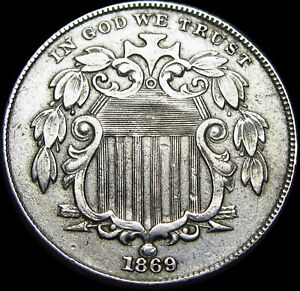 1869 Shield Nickel  ----  Type Coin   ---- #H362